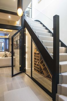 Home Stairs Design, Home Room Design, Modern House Design, Home Interior Design, Modern Stairs Design, Under Stairs Wine Cellar, Home Wine Cellars, House Staircase, Hallway Designs