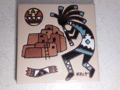 Vintage L Kuhne Southwest Mexican Tile Trivet Art Quails