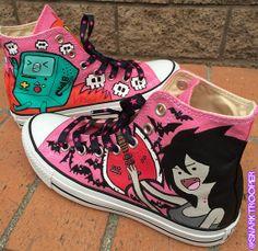 "GypsyDangerDogs Mark 001: Adventure Time ""Heavy Metal"" Marceline & Beemo Custom Painted Converse"