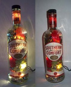 Sweet idea for left over empty liquor/wine bottles (which there are always a lot of). Mood lighting!