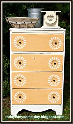 "#stenciled sunburst dresser  todayismysome-day.blogspot.com..I will do this for a little "" storage""  dresser i have in my kitchen"