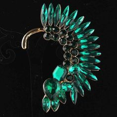 Turquoise crystal ear cuff