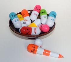 Let These Cute Chubby Vitamin Pill Pens Adorn Your Desk Top  ***This Listing Is For ( 1 ) Pill Pen In Your Color Choice or a ( 5 ) piece set -