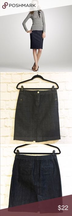 """J. Crew denim pencil skirt GUC, great to mix and match tops for work. Heavyweight denim that's great for the cold with sweater tights and boots. Waist 16"""" hips 19 1/2"""" length 21"""". Has 2% spandex for a little stretch. J. Crew Skirts Pencil"""