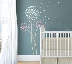 Dandelion Wall Decal, Butterfly Dandelion Wall Decal with Flying Butterflies for Nursery, Kids or Childrens Room 034 by InAnInstantArt on Etsy https://www.etsy.com/listing/158518730/dandelion-wall-decal-butterfly-dandelion