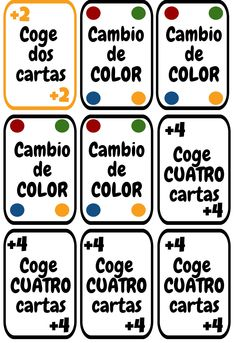 Cartas UNO imprimibles para la clase de español. ELE colores y números. Spanish Games, Spanish Lessons, Spanish Class, Teaching Spanish, High School, Learning, Kids, Spanish, Frases
