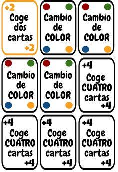 Cartas UNO imprimibles para la clase de español. ELE colores y números.