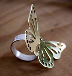 Butterfly silver ring shiny brass elegant feminine and by iatzil, €71.50