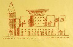 BIBLIOTECA CENTRAL DE DENVER. Cuando trabaja en los bocetos previos de una obra, Graves dibuja en papel de calco amarillo. Esta progresión de esquemas es fundamental para el proceso de diseño (The New York Times y Michael Graves).