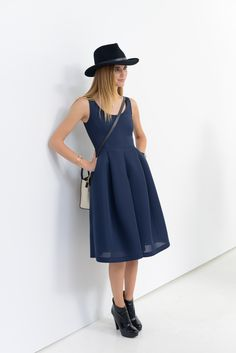Color #trends: Navy and black on Chiara Ferragni, of the fashion blog The Blonde Salad. #NYFW (Photo: Casey Kelbaugh for The New York Times)