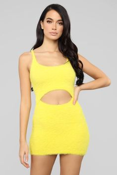 4ad3c98064 Cut To The Chase Fuzzy Dress - Yellow Yellow Dress