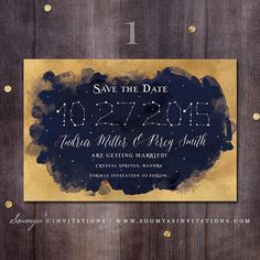 Navy Blue and Gold Wedding Save the Date - I like this idea with the stars; maybe modify the colors?