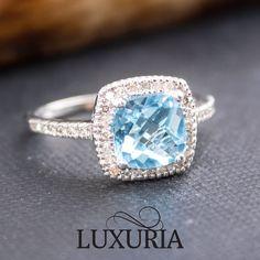 Blue Topaz & White Diamond gemstone engagement ring, White Gold, Luxuria Jewellery.