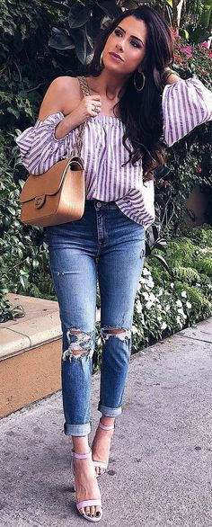 cool outfit idea : off shoulder stripped blouse   bag   ripped jeans   heels