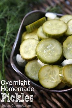 Overnight Homemade Pickles Recipe - an easy refrigerator pickle recipe that is ready the next day and no canning necessary. Full of dill, onion, and garlic! | SnappyGourmet.com