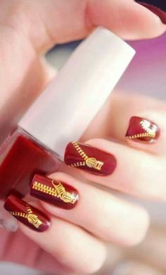 Here are the top 9 choices of jeans and zipper nail art designs that you will be inspired to get one for yourself. Red Nail Art, Nail Polish Art, Cool Nail Art, Nail Polish Colors, Great Nails, Fabulous Nails, Cute Nails, Gorgeous Nails, Beautiful Nail Designs