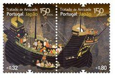 150 tratado de amizade Portugal - Japão - stamp commemorating Portuguese-Japanese trade.