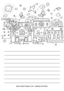 Fire up the kids' imagination with these fun colouring and story paper printables with a spring theme. We've got two versions, one with simple lines and one with handwriting lines for younger children Kids Writing, Writing Paper, Writing Activities, Writing Prompts, Writing Skills, Spring Coloring Pages, Writing Station, Spring Theme, Spring Activities