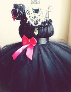 Black Flower girl dress-Audrey Hepburn inspired tutu dress-Audrey in pink tutu dress. $50.00, via Etsy.