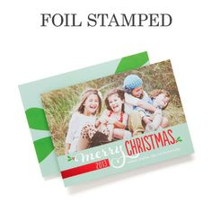 'Pure Merriment' Foil Stamped #Holiday Cards in Basil Green is the perfect way to brighten up the holidays. #Christmas