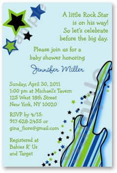Rock Star Guitar Printable Baby Shower by LittlePrintsParties, $10.00
