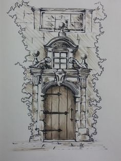Architectural Sketches 503206958359885361 - Source by laureplate Landscape Pencil Drawings, Pencil Art Drawings, Art Drawings Sketches, Abstract Sketches, Abstract Paintings, Watercolor Architecture, Art And Architecture, Classical Architecture, Sketch Painting
