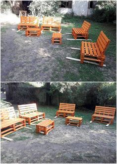 This garden furniture has been beautifully adjusted with the wood pallet coverage straight into it. This furniture idea project would make you learn about the elegant designing of the benches over it that is being incorporated with the work of center table piece.