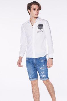 Blue Distressed Denim Shorts ESP