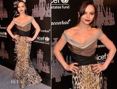 The petite actress wore a Carolina Herrera gown featuring an open neck, tri-colour bodice and jacquard animal-print skirt