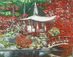 Temple zen, peinture lumineuse, Huile au couteau, peinture ambiance zen, artiste français, création unique,livraison offerte