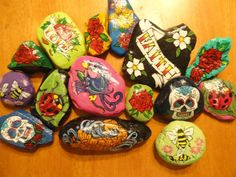 Sugar Skull Day of the Dead Hand Painted Rocks by DaisyGirlJoy, $12.00
