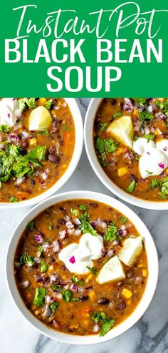 This is the easiest ever Instant Pot Black Bean Soup - this smoky, spicy soup is packed with flavor and so comforting for cozy nights in. #instantpot #blackbeansoup Slow Cooker Pressure Cooker, Instant Pot Pressure Cooker, Spicy Soup, Black Bean Soup, Meal Prep Bowls, Healthy Recipes, Ketogenic Recipes, Vegetarian Recipes, 30 Minute Meals