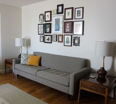 Like the arrangement of photos on the wall. Maybe for family photos?