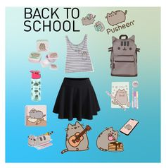 """#PVxPusheen"" by supermerp ❤ liked on Polyvore featuring Pusheen, BackToSchool, contestentry and PVxPusheen"