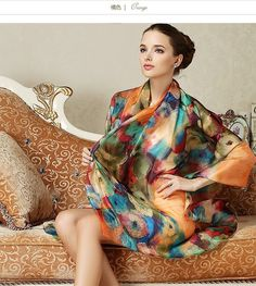 2016 Women Long Silk Scarf Shawl Spring Autumn Female Silk Scarves Printed Summer 100% Mulberry Silk Beach Cover-ups 175*110CM