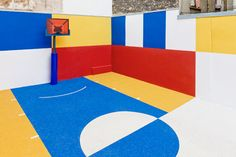 "Ill Studio partnered with the fashion brand Pigalle to design this basketball court. ""Stephane Ashpool, the founder and designer of Pigalle, has been playing on this court and training kids t… Pigalle Basketball, Basketball Court, Sports Court, Ill Studio, Paris Love, Paris Apartments, Photography Projects, Public Art, Girls Be Like"