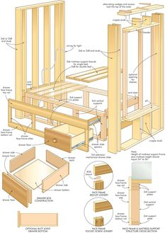 Wood Furniture Plans and Craft Plans For DIY Woodworking - Furniture Woodworking Plans Bed Desk
