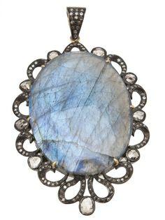 NATIVE JEWELS Diamond Labradorite Pendant #farfetch #nyeoutfit