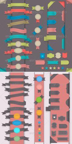 Big set design elements in retro style -