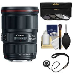 Canon EF 16-35mm f/4L IS USM Zoom Lens with UV/CPL/ND8 Filters Kit for EOS 6D, 70D, 5D Mark II III, Rebel T3, T3i, T4i, T5, T5i, SL1 DSLR Cameras *** Read more  at the image link.