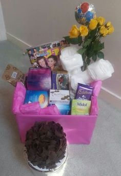 """The """"Welcome to Womanhood"""" basket. Full of chocolate, midol, pads and other gifts for your daughter who just got their… """"friend"""" – Preteen Period Starter Kit, Cute Gifts, Diy Gifts, First Period Kits, Period Party, Raising Girls, Family Organizer, Gift Baskets, Fun Crafts"""