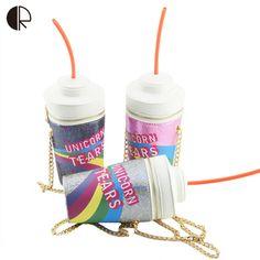 De moda de nova engraçado letras lantejoulas cadeia copo coque palha Bag Mini Messenger Bags PU impressão em forma de barril bolsa de ombro BS474