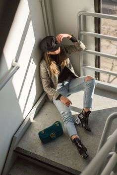 outfit with baker boy hat, checked blazer, 501 levis, jeffrey campbell boots and gucci marmont bag