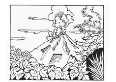 volcano coloring pages pictures - Volcano Coloring Pages