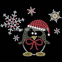 20 шт./лот зима пингвин шаблон исправление горный хрусталь трансферы железа на мотив рождественские стразами кристалл для платья купить на AliExpress