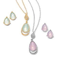 Feminine Grace Necklace and Earring Set Feminine Grace Necklace and Earring Set  Irresistible iridescence. Teardrop shaped pendant necklace set with matching earrings embellished with translucent faux stones and rhinestones. Offered in silvertone with a pink opaque faux stone or goldtone with a white opaque faux stone. Avon Jewelry