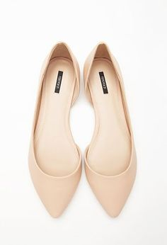 Nude d'Orsay pointy toed ballet flats. Perfect shoes for spring, summer, fall. and winter.