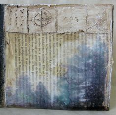 As it is on Earth inkjet gel transfer onto book page, encaustic medium, encaustic paint, oil stick