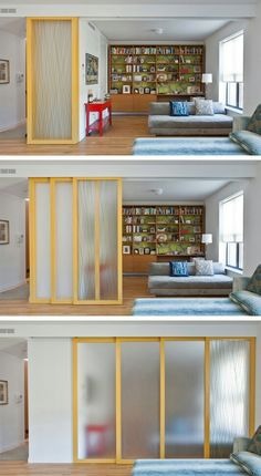 To separate home office space (near window na). This slides from a space from present mirror edge to bathroom wall