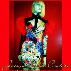 "This 2-piece Couture party dress has a patchwork corseted top made of Houndstooth cotton, a ""Fashionista"" print spandex, a Pop Art print cotton, Alencon lace, satin, sequined chiffon and jersey, and hand beaded with multi-colored Swarovski crystals, Gold studs, Iridescent jewels, and embroidered sequin flowers, and the spandex skirt is made with the multi-colored ""Fashionista"" print in the front, and Houndstooth stretch cotton in the back. The bolero/shrug is mad..."